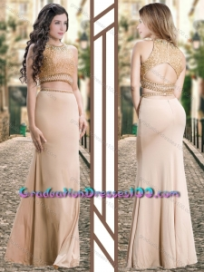 Two Piece Scoop Chiffon Champagne Graduation Dresses with Beading