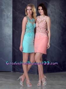 Luxurious Column Short Graduation Dresses in Satin and Lace