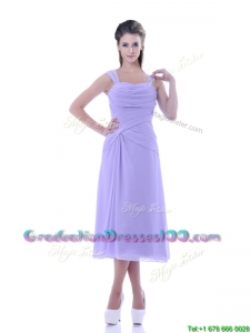 Beautiful Lavender Empire Square Graduation Dress in Tea Length
