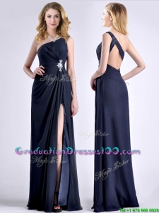 Exquisite One Shoulder Navy Blue Graduation Dress with Beading and High Slit