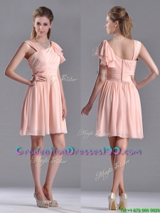 Simple Empire Ruched Peach Graduation Dress with Asymmetrical Neckline