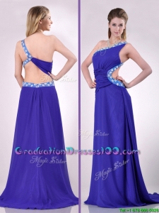 Beautiful Brush Train One Shoulder Graduation Dress with Criss Cross