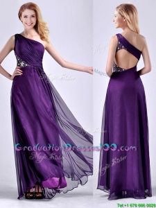 Elegant One Shoulder Criss Cross Purple Graduation Dress with Beading