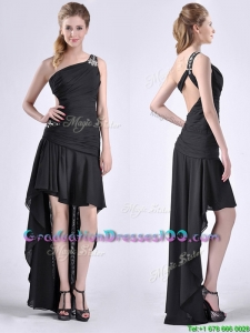 Romantic High Low One Shoulder Black Graduation Dress with Criss Cross