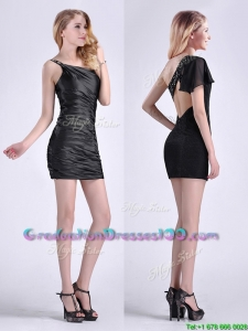 Sexy Criss Cross Beaded Black Short Graduation Dress with One Shoulder