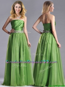 Exclusive Strapless Beaded Decorated Waist Prom Dress with Side Zipper