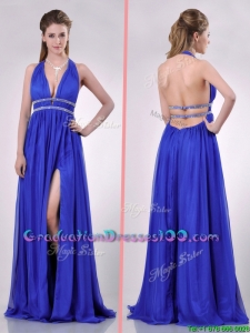 New Halter Top Blue Backless Graduation Dress with Beading and High Slit