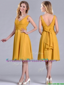 Perfect Empire V Neck Ruched Gold Graduation Dress in Chiffon