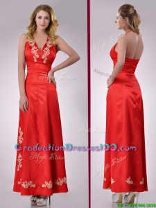 Modest Column Halter Top Backless Red Graduation Dress with Appliques