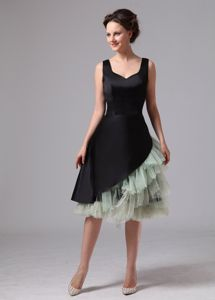 Black and Green Knee-length Evening Dress For Graduation with Straps