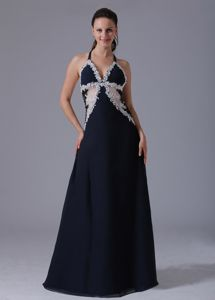 Halter Appliqued Navy Blue College Graduation Dresses in Floor-length