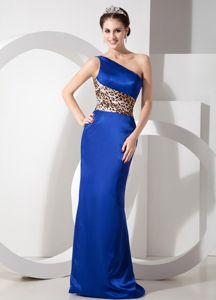 Blue Leopard One Shoulder Grad Dresses in Taffeta with Brush Train