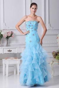 Beaded and Ruffled Mermaid College Graduation Dress in Aqua Blue