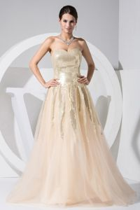 Sequined Tulle Champagne College Graduation Dresses in Floor-length