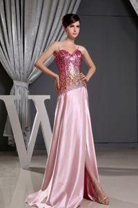 Sequined Pink Graduation Dresses For College with Spaghetti Straps