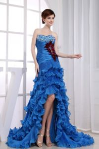 Beaded Mermaid Ruffled Royal Blue Graduation Dresses in High-low