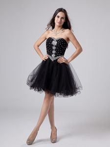 Beaded Sweetheart Black Mini-length Eighth Grade Graduation Dresses