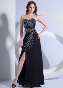 Beaded Chiffon Graduation Dresses For Juniors with High Slit in Black