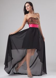 Sequined High-low Chiffon University Graduation Dress with Sequins