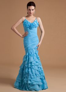 Mermaid Ruffled Organza Floor-length Graduation Dresses with Straps