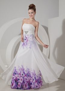 Strapless Beaded Floor-length Grad Dress White Chiffon with Printing