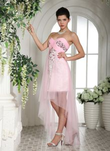Baby Pink Beaded High-low Graduation Dresses For Middle School
