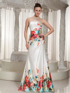 Printed Floor-length Strapless Senior Graduation Dresses with Beading