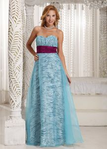 Sweetheart Graduation Dress in Zebra Print Fabric and Blue Organza