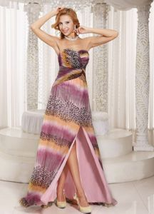 Milti-color Graduation Ceremony Dress with High Slit and Watteau Train