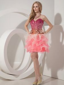 Sweetheart Watermelon Graduation Dress in Organza Ruffled Bottom