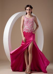Scoop Fuchsia Senior Graduation Dress with Appliques and a Sweep Brush