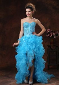 High-low Aqua Blue Cute Graduation Dress with Beading and Ruffles