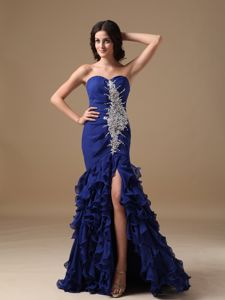 Mermaid Blue Sweetheart College Graduation Dress with a Brush Train