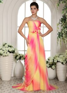 Ombre Color Brush Train Junior Graduation Dress with Flowers 2014