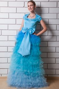 Aqua Blue Middle School Graduation Dress Beaded Square Neck