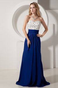 White and Royal Blue Sweetheart Graduation Dress with Brush Train