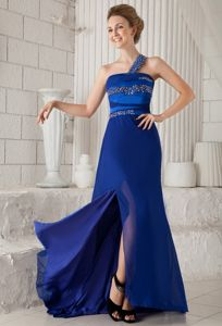 One Shoulder Beaded Graduation Dresses with Brush Train in Blue