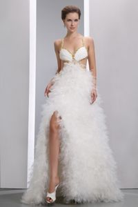 White Beaded Organza Cute Graduation Dress with Spaghetti Straps