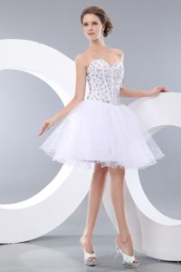 White Sweetheart Mini-length College Graduation Dress with Beading