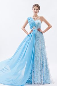 One Shoulder Lace Beaded College Graduation Dresses in Baby Blue