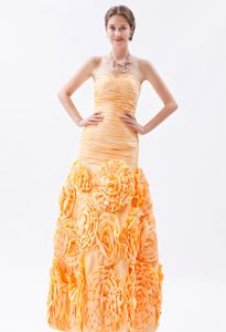 Orange Mermaid Sweetheart Ruched Grad Dress with Rolling Flower
