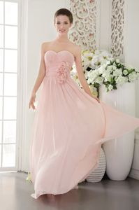 Pink Sweetheart Floor-length Chiffon University Graduation Dresses