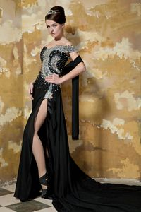 One Shoulder Beaded Black Cute Graduation Dress with Chapel Train