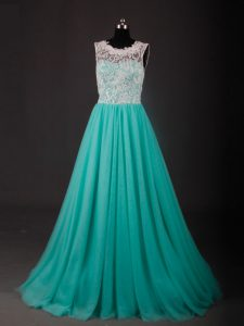 Turquoise Scoop Zipper Lace and Embroidery Graduation Dresses Sweep Train Sleeveless