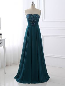 Dramatic Sleeveless Floor Length Sequins and Ruching Zipper Graduation Dresses with Teal