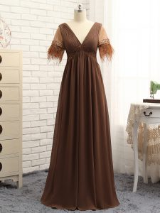 Top Selling Brown Zipper V-neck Beading and Ruching Graduation Dresses Chiffon Sleeveless