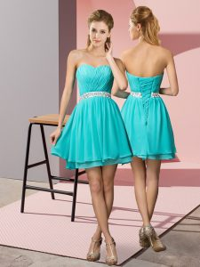 Fantastic Sweetheart Sleeveless Chiffon Graduation Dresses Beading Lace Up