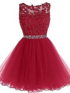 Sleeveless Mini Length Beading and Lace and Appliques Zipper Graduation Dresses with Burgundy