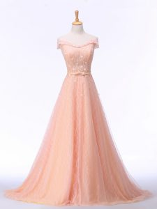 Fantastic Sleeveless Beading and Lace and Belt Lace Up Graduation Dresses with Peach Brush Train