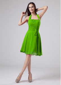 Knee Length Graduation Dresses Chiffon Sleeveless Ruching